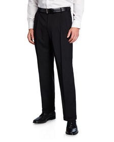Neiman Marcus Men's Traditional Fit Pleated Wool G