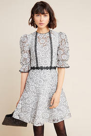 Anthropologie ML Monique Lhuillier Embroidered Lac