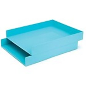 Poppin Front Loading Letter Trays, Aqua, 2/Pack (1