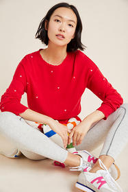 Anthropologie Sundry Hearts Embroidered Sweater