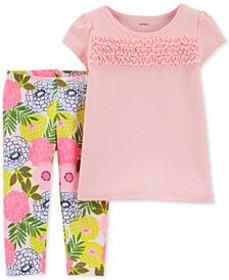 Baby Girls 2-Pc. Textured Top & Floral-Print Leggi
