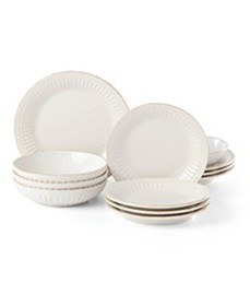 French Perle Groove White 12-Piece Dinnerware Set,