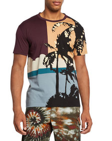 Valentino Men's Hawaii Colorblock Jersey Graphic T