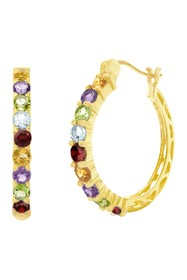 Savvy Cie 18K Gold Plated Genuine Semi Precious Ho