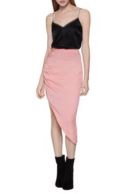 BCBGeneration Polka Dot Ruched Satin Slip Skirt