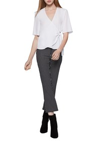 BCBGeneration Solid Elbow Sleeve Satin Wrap Top