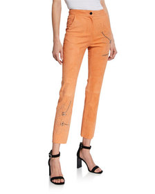 Nour Hammour Tropical-Studded Suede Pants
