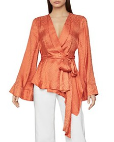 BCBGMAXAZRIA - Dotted Satin Wrap Top