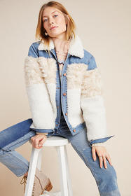 Anthropologie Rebecca Taylor Faux Fur-Trimmed Deni