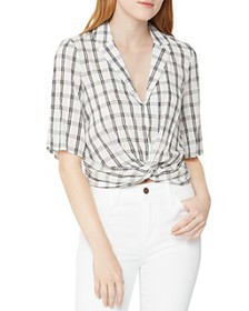 BCBGENERATION - Plaid Twist-Front Top