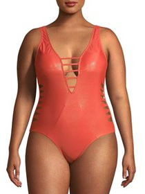 XOXO Womens Raw Cut Slashes Monokini Swimsuit With