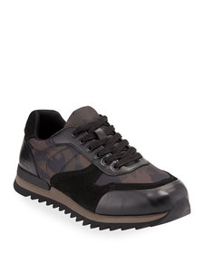 DKNY Kendrick Camo-Print Mixed Leather Trainer Sne