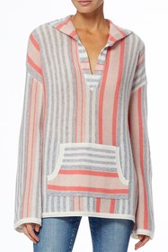 360 Cashmere Alya Striped Pullover Poncho Hoodie