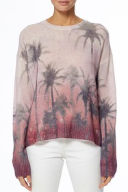 360 Cashmere Solice Palm Tree Print Pullover Sweat