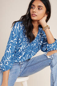 Anthropologie Anfisa Textured V-Neck Top