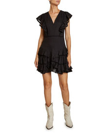 Etoile Isabel Marant Audrey Linen Ruffle-Tiered Dr