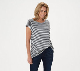"""As Is"" Lisa Rinna Collection Striped Pullover Top"