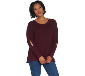 """As Is"" H by Halston Scoop- Neck Pullover Sweater"
