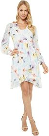 Calvin Klein Long Sleeve Floral Chiffon Dress with