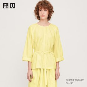 Women U Long-Sleeve T Blouse, Yellow, Medium