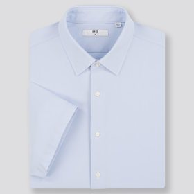 Men Dry Easy Care Comfort Short-Sleeve Shirt, Blue