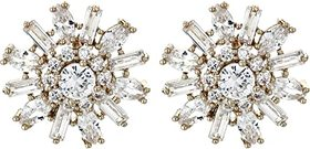 Nina Nina - Geo Floral Stud Earrings. Color Gold/W