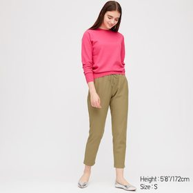 Women Denim Jersey Tapered Pants, Olive, Medium