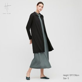Women Rayon Ribbed Long-Sleeve Long Cardigan (Hana