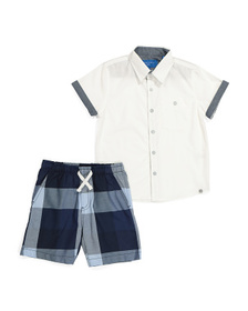 PERRY ELLIS Little Boys 2pc Woven Shirt And Short