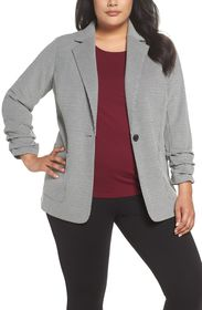 Vince Camuto Ruched Sleeve Mini Houndstooth Jacket