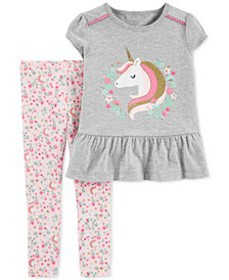 Baby Girls 2-Pc. Unicorn Top & Floral-Print Leggin