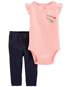 Baby Girls 2-Pc. Striped Rainbow Bodysuit & Pants