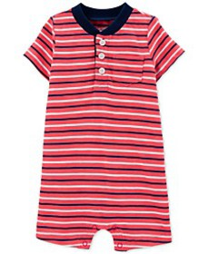 Baby Boys Striped Henley-Neck Textured Cotton Romp
