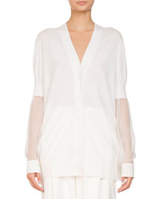 Givenchy V-Neck Button-Front Oversized Cardigan w/