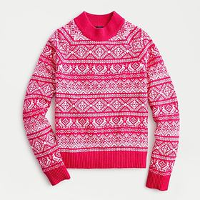 J. Crew Cheerful Fair Isle mockneck sweater