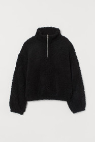 Faux Shearling Top with Zip