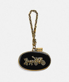 Coach horse and carriage plaque bag charm
