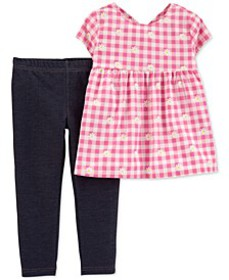Baby Girls 2-Pc. Gingham-Print Top & Knit Denim Le