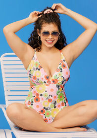 ModCloth The Sonia One-Piece Swimsuit Yellow/Pink