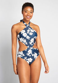 ModCloth The Betsey One-Piece Swimsuit Navy/White