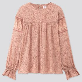 Women Anna Sui Long-Sleeve Blouse, Pink, Medium