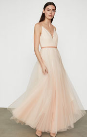 BCBG Tulle Dress with Beaded Trim