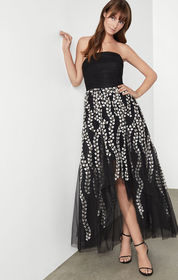 BCBG Embroidered Tulle Evening Dress