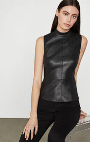 BCBG Faux Leather Shell Top