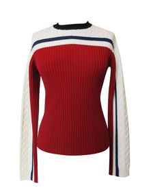 REDValentino Striped Wool Rib Knit Pullover Sweate