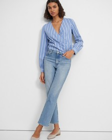 Long-Sleeve Wrap Top in Striped Stretch Cotton