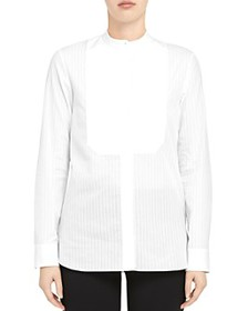 Theory - Sheer Pinstripe Cotton Combo Bib Shirt