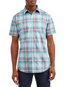 Lee Men's Plaid Short Sleeve Casual Stretch Button