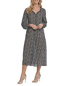 Dkny Jeans Printed Button-Front Dress BLACK IVORY
