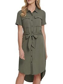 Dkny Jeans Belted High-Low Shirtdress ARMY GREEN